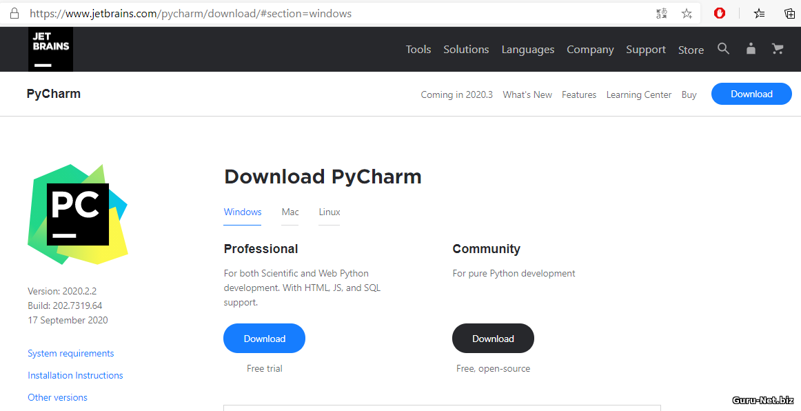 Сайт PyCharm